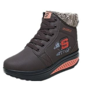 Shoes - Velvet Swing Shoes Platform Ankle Boots - Brown